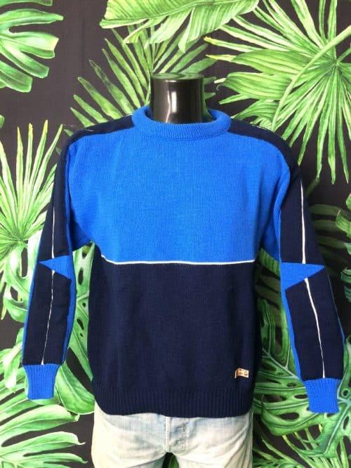 Pull Vintage Huralp, Véritable Années 80s, Made in France, Taille M, Couleur Bleu - Blanc , Pullover Courtelle SkiHomme