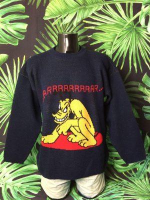 Pull Vintage Mickey Unlimited, Série Pluto, Véritable Années 90s, License Officielle Disney, 25% laine, Taille XL, Couleur Bleu Jaune, Pullover Homme