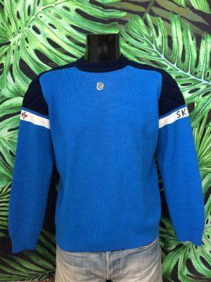 Pull Vintage Montant, Véritable Années 80s, Made in France, Pejitelle Taille S, Couleur Bleu - Blanc, Pullover Ski Homme