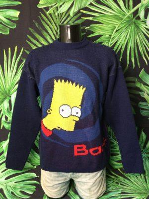 Pull Vintage The Simpsons, Série Bart, Année 2003, Véritable Années 00s, License Officielle Fox, Taille L, Couleur Bleu - Jaune - Rouge, Pullover Groening Homme