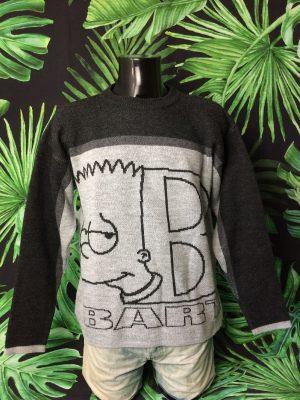 Pull Vintage The Simpsons, Série Bart, Année 2004, Véritable Années 00s, License Officielle Fox, Taille L, Couleur Gris Noir, Pullover Groening Homme