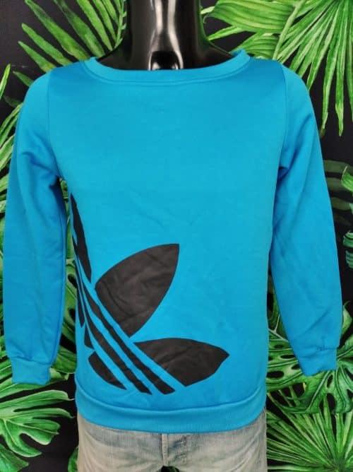 Sweat Adidas, Large Col, Gros Trefoil, Couleur Bleu et Noir, Sport Femme