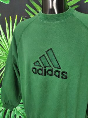 Sweat Adidas, Vintage Années 90, Made in Indonesia, Couleur Vert, Visuels brodés, Sport, Unisexe