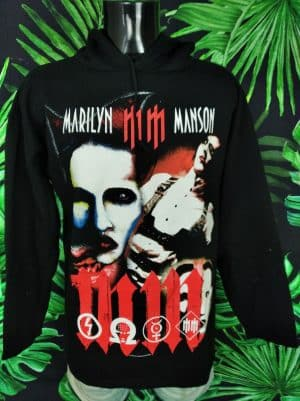 Sweat Marilyn Manson, Vintage Années 2004, Official License, Double Face, Capuche, Couleur Noir, Made in Italy, Metal Heavy Indus Unisexe