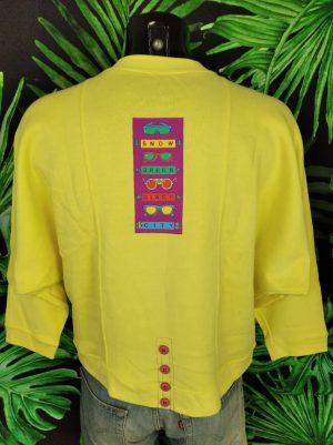 Sweat Poivre Blanc, Vintage Années 90s, Modèle Snow Green Glace City, Logo sur le devant, Avec Zip et Boutons, Made in Portugal, Couleur jaune, Femme