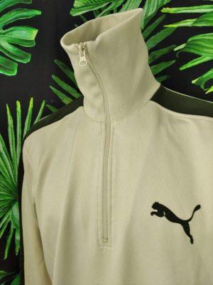 Sweat Puma, Véritable Vintage Années 00s, Zip torse, Col Montant, Couleur Blanc et Vert, Sport Homme