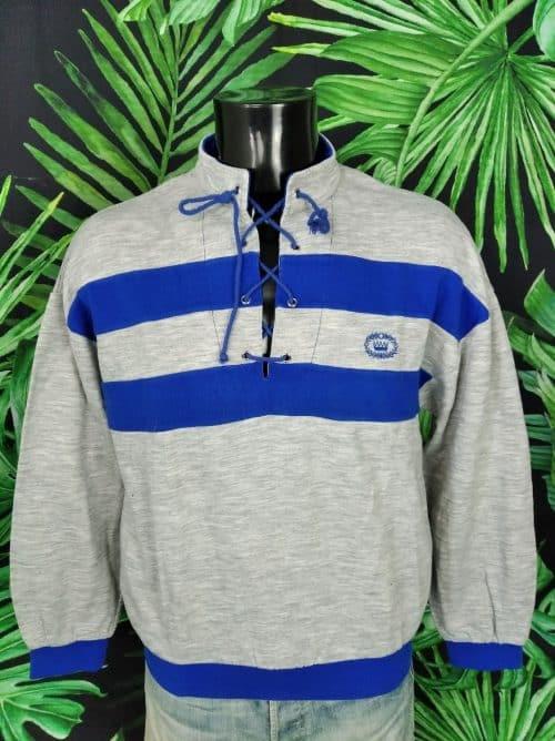 Sweat Trevois, Véritable Vintage Années 80s, Design France, Made in Maroc, Lacets au col, Couleur Gris et Bleu, Sport Aerobic Running Unisex