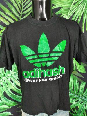 T-Shirt Adihash, Gives You Speed!, Véritable Vintage Années 90, Trefoil, Ganja Iconic Rave Homme