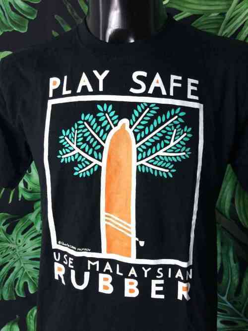 T-Shirt Vintage CHARLES CHAM, Série Play Safe Use Malaysian Rubber, Année 1994, Marque Orangutan, Art Design Peinture Homme