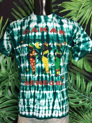 T-Shirt Vintage DAKAR SENEGAL, Véritable Années 90, Tie Dye Vert, de marque Top Africa, Label Prosimex Homme