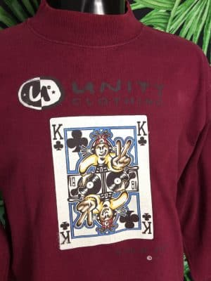 T-Shirt Vintage UNITY RECORDS London, Série King of Klubs, Véritable Années 1993, Marque Oneita, Made in USA, Manches longues,  Rave Drum And Bass Jungle Dnb 90s