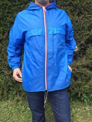 Veste Imperméable Vintage, Années 80s, Made in Italy, Nylon, Waterproof, Windproof, Capuche, K-Way Unisex
