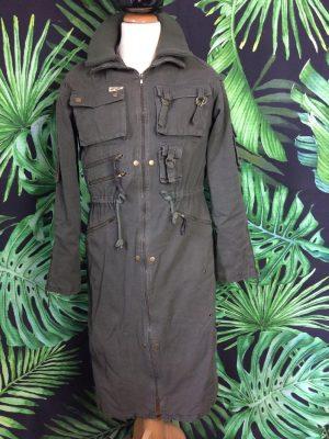 Veste Parka Vintage Level 662, Années 90s, Taille S/M, Couleur Kaki, Modèle Long, Intérieur Doublé, Multiples Zip et poches, Tank Armée Rave Unisex