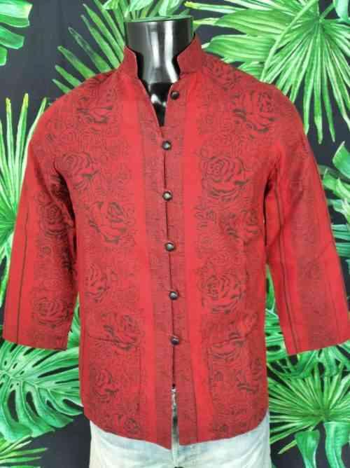 Veste Provence SOULEIADO, Véritable Vintage Années 90, Motifs Fleurs Rouge, Gardian Camargue Sud Feria Jacket Femme