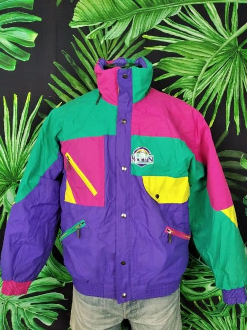 Veste Ski Vintage, Marque Blue Mountain, Made in Morocco, Véritable Années 90, Taille L, CouleurMulticolore Fluo, Ski Homme