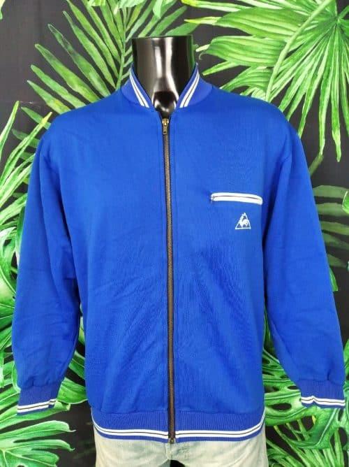 Veste VintageLe Coq Sportif, Véritable Années 70, La marque des tricolores, Taille L, Couleur Bleu et blanc, , France Sports Homme