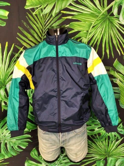 Veste Windbreaker Vintage Adidas, véritable vintage années 90, Taille M, Couleur bleu jaune vert blanc, Made in Taiwan, Nylon, Doublé, Sport Streetwear Coupe-Vent Unisexe