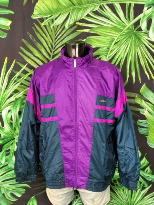 Veste Windbreaker Vintage Reebok, véritable vintage années 90, Taille XL, Couleur violet noir rose, Made in Malaysia, Nylon, Doublé, Sport Streetwear Coupe-Vent Homme