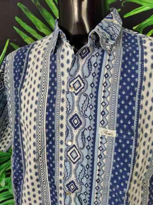 Chemise Provence Vintage, Marque PATKO, Boutons Nacres, Années 90, Made in France, Couleur bleu, Camargue Gardian Sud Feria Homme