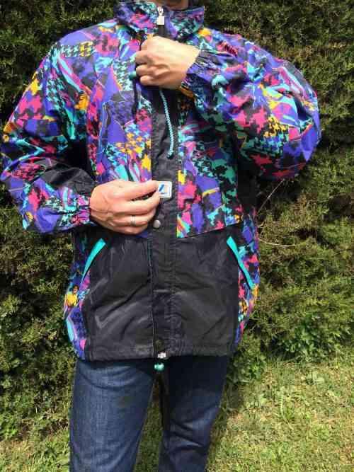 K-WAY, Vintage, Veste Impermeable, Années 90s, Nylon, Capuche, Se roule en boule et se porte à la taille, Design Noir Camouflage Ski Y2K Rave Sport Unisex