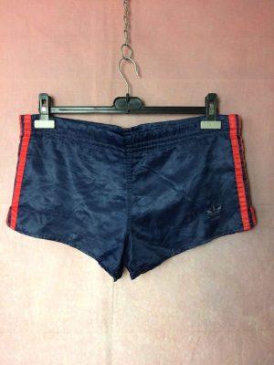 Shorts Adidas, Véritable vintage années 80s, Made in West Germany, 3 bandes et Trefoil, Taille L, Couleur Bleu et Rouge, Nylon Sports Homme