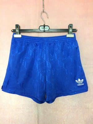 Shorts Adidas, Véritable vintage années 90s, Made in England, Trefoil, Taille M, Couleur Bleu et Blanc, Football Sports Homme