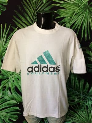 T-Shirt ADIDAS Equipment, Véritable Vintage Années 90s, Made in Tunisia, Taille XL, Couleur Blanc, Patch cousu, Logo Sport Homme