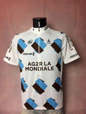Maillot AG2R La Mondiale Team, Marque Odlo, Saison 2013, Sponsor Focus, Logo UCI World Tour, Taille XL, Couleur Blanc, Marron, Bleu, Tour de France Course Cycle Vélo Cyclisme Homme