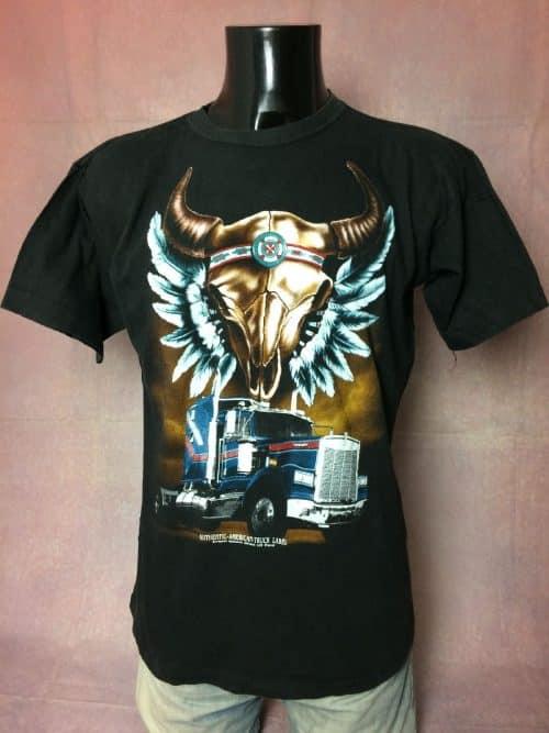 T-Shirt Authentic American Truck Label, Marque LPS France, Véritable vintage années 90s, Visuel Kenworth, Taille M, Couleur Noir, Indiens USA Homme