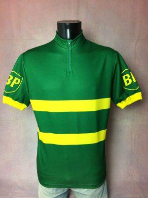 Maillot BP, Marque Tricots Du Rocher, Made in France, Véritable Vintage Années 80s, Taille L, Couleur Vert et Jaune, Course Cycle Vélo Cyclisme Homme