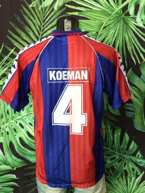 Maillot Barcelona, Saison 1992, Floqué Koeman #4, Véritable Vintage Années 90s, modèle Home, de marque Rogers, Official Licence, FCB Liga Espagne Football Homme