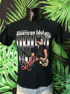 T-Shirt David Cook, édition 2008 American Idol, Logo Authentic Champion AC, Taille S, Couleur Noir, Concert Rock Homme