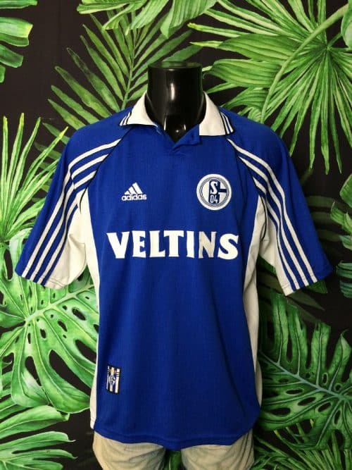 Maillot FC Schalke 04, version Home, saison 1998 1999, de marque Adidas, Véritable vintage années 90, Made in Italy, Sponsor Veltins, Taille L, Couleur Bleu - Blanc, Germany Bundesliga Football Homme