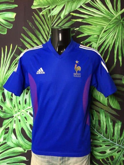 Maillot FRANCE, marque Adidas, daté du 05/02, version Home, saison 2002 - 2003, Véritable Vintage, Technologie Climalite, Taille S, Couleur Bleu, World Cup 2002, FFF Jersey Football Homme