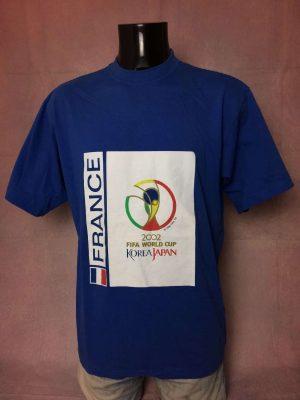 T-Shirt France, 2002 Fifa World Cup Korea Japan, Véritable vintage années 00s, Licence Officielle, Taille L, Couleur Bleu, Coupe du Monde Team FFF Football Homme