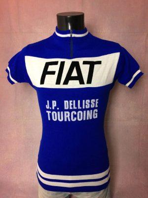Maillot Fiat Team, Véritable Vintage Années 1977, Flocage Feutrine JP Dellisse Tourcoing, Taille M, Couleur Bleu et Blanc, Course Cycle Vélo Tour de France Eroica Cyclisme Homme