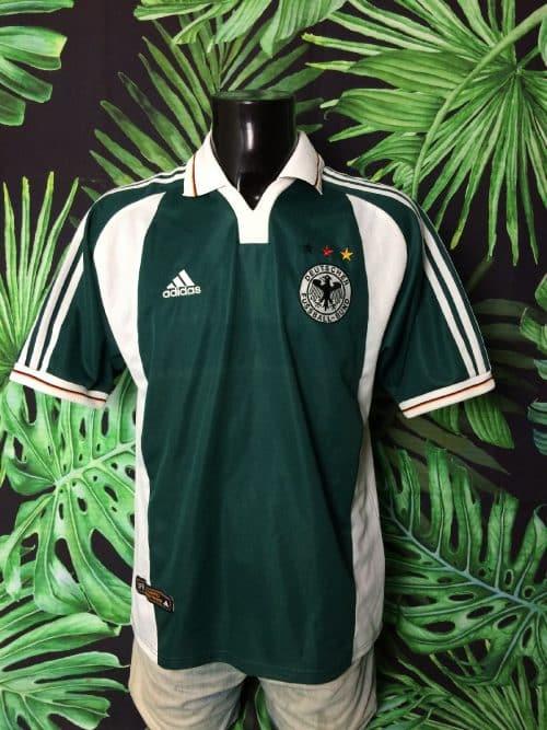 Maillot Germany, version Away, saison 2000 2002, de marque Adidas, Véritable Vintage Années 00, Technologie ClimaLite, Made in Portugal, Taille M, Couleur Vert - Blanc, Allemagne EuroCup Football Homme