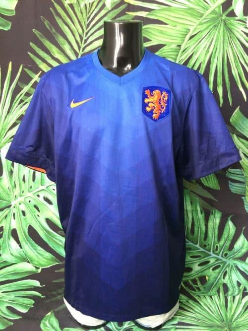 Maillot Holland, version Away, saison 2014 2015, de marque Nike, Technologie Dri-Fit, Taille 2XL, Couleur Bleu - Orange, World Cup Nederland KNVB Football Homme