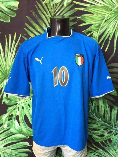 Maillot Italia, Saison 2003 2004, Version Home, de marque Puma, Floqué Totti N°10, Taille L, Couleur Bleu, Italy Squadra Azzurra Football Homme