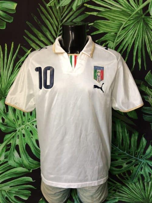 Maillot Italia, Saison 2007 2009, Version Away, de marque Puma, Floqué Totti N°10, Taille L, Couleur Blanc, Italy Squadra Azzurra FIGC Football Homme