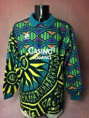 Maillot Goal Lotto, Vintage années 1994 - 1997, Made in Italy, Sponsor Casino Lugano, Floqué N°22, Taille XL, Couleur Multicolore, Jersey Goalkeeper Gardien de But Football Homme