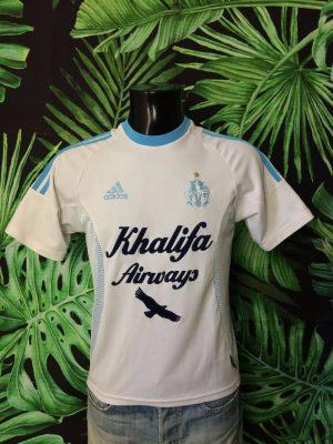 Maillot MARSEILLE, Saison 2002 2003, modèle Home, de marque Adidas, Sponsor Khalifa, Made in Italy, Technologie ClimaLite, Vintage 00s, OM Ligue 1 Football Homme