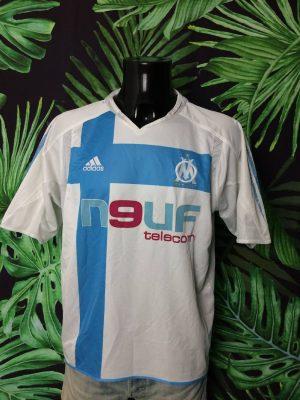 Maillot Marseille, saison 2004 2005, version Home, Sponsor Neuf Telecom, de marque Adidas daté du 01/05, Technologie Climacool, Made in Morocco, Taille L, Couleur Bleu et Blanc, Vintage OM Ligue 1 Jersey Football Homme