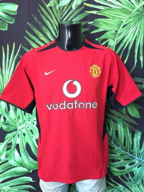 Maillot Manchester United, Saison 2002 - 2004, Version Home, Marque Nike, Sponsor Vodafone, Vintage, Taille M, Couleur Rouge et Noir, Premier League England Football Homme