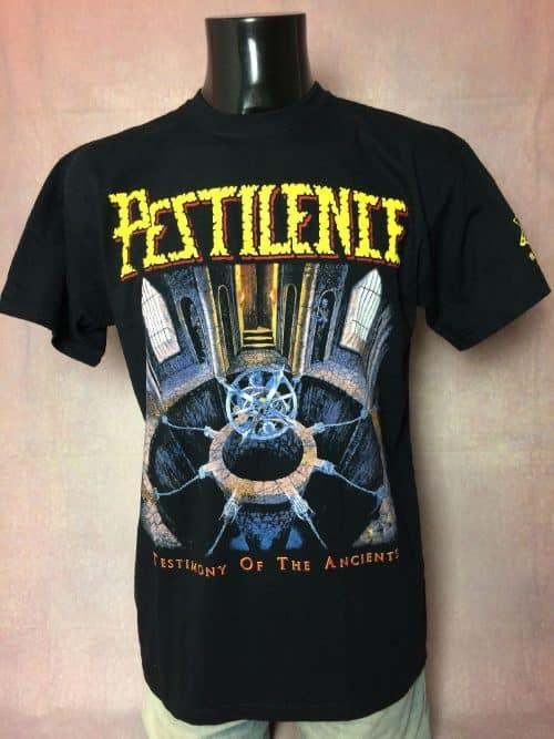 T-Shirt Pestilence, édition Testimony Of The Ancients, Dos Imprimé, Licence Officielle, Pur coton, Taille L, Couleur Noir, Album Death Metal Heavy Jamais Porté Homme