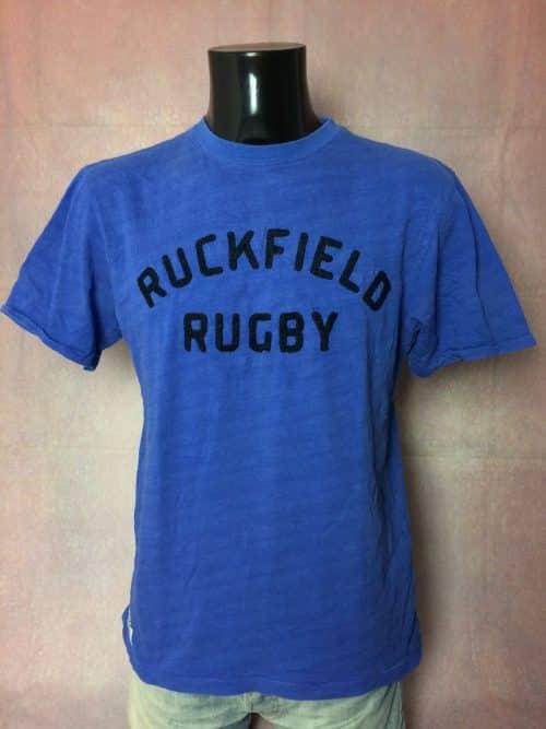 T-Shirt RUCKFIELD Rugby, Visuel brodé, Sébastien Chabal, Pur coton, Taille M, Couleur Bleu, France FFR Quinze XV TeamHomme