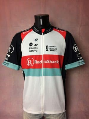Maillot RadioShack Leopard Team, Marque Craft, Saison 2013, Sponsor Trek, Skoda, Anonimo, Gaerne, Logo UCI World Tour, Taille 2XL, Couleur Blanc, Rouge, Vert, Tour de France, Course Cycle Vélo Cyclisme Homme