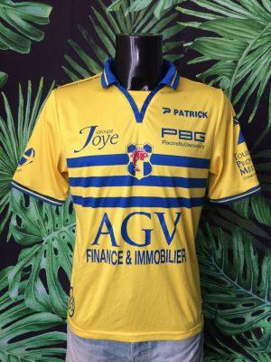 Maillot TOULON Sporting Club, N°7, Saison 2014 - 2015, Version Home, Marque Patrick, Sponsor AGV, Taille M, Couleur Jaune et Bleu, France Ligue 1