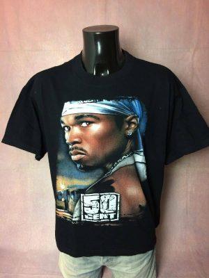 T-Shirt 50 Cent, Véritable Vintage Années 00s, Double Face, Taille XL, Couleur Noir, Fifty East Coast Gangsta Hardcore Hip Hop Rap Streetwear Homme
