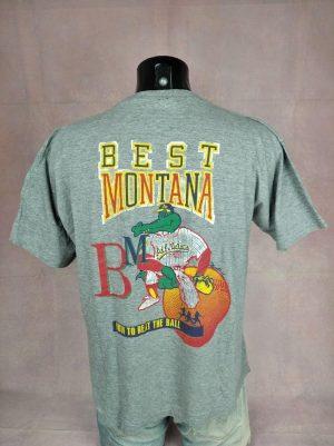 Best Montana T-Shirt, Edition How To Beat The Ball, Oakland Athletics, Triumph Of Good Taste, Véritable Vintage Année 90s, Double Face, Taille M, Couleur Gris, Baseball Crocodile Sport Homme